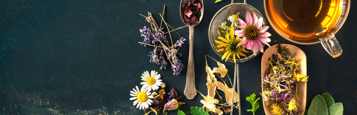 flowers, herbs, honey, tea